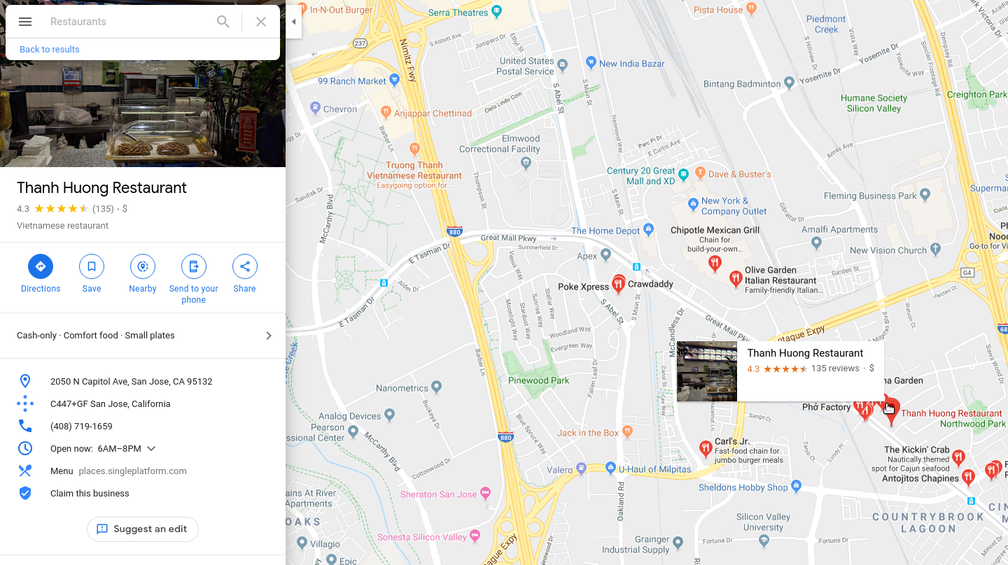 Google maps information window